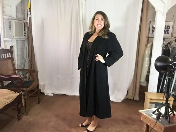 Vintage Portrait Black Wool Swing Coat