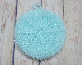1pcs, Homemade Crochet Dish Cloth, Scrubbies, Scrubber, Scrubby plain mint blue