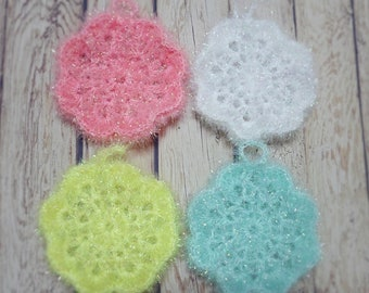 Set of  4, Homemade Flower Crochet Dish Cloth, Scrubbies, Scrubber, Scrubby