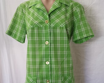 Vintage 1960's Plaid Shirt Dress Button up green and white  misses sz S small