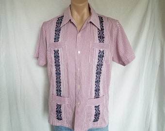 9a9acf16967 Vintage Men s Genuine Haband Guayabera Button Front Embroidered Shirt short  sleeve striped sz M - L