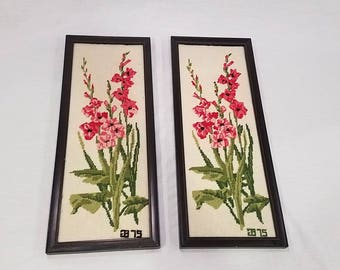 1975 Needlepoint Orchid Flowers Wall Art Set of 2 Framed in Wood 20 x 8