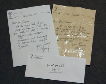 BTTF Back to the Future Prop, Marty's Letter to Doc