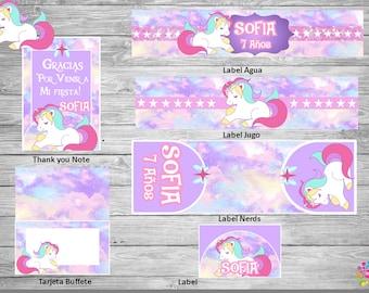 GIRL !!UNICORN!!! Printable Party Set! Customize!!