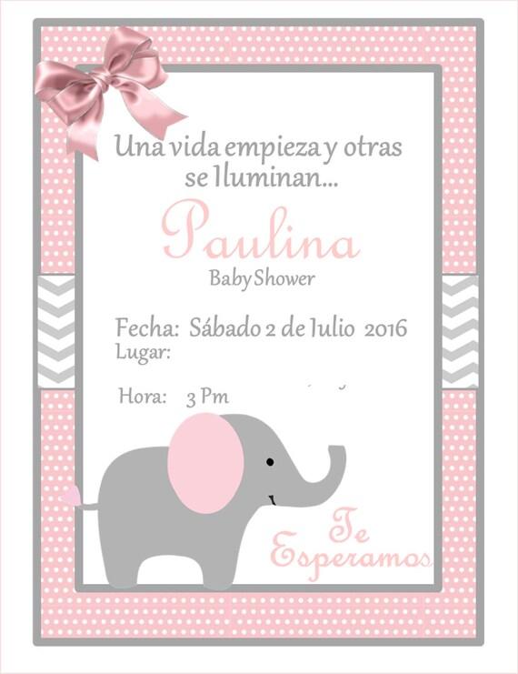 INVITACIÓN Elefante Baby ShowerPersonalizada | Etsy