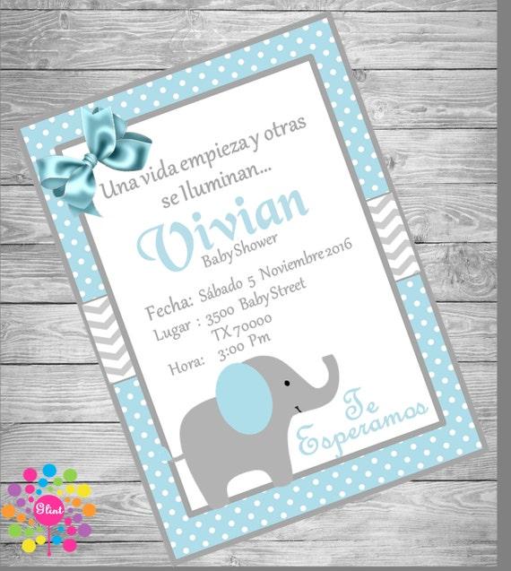 INVITACIÓN Baby Shower ELEFANTE para Niño | Etsy