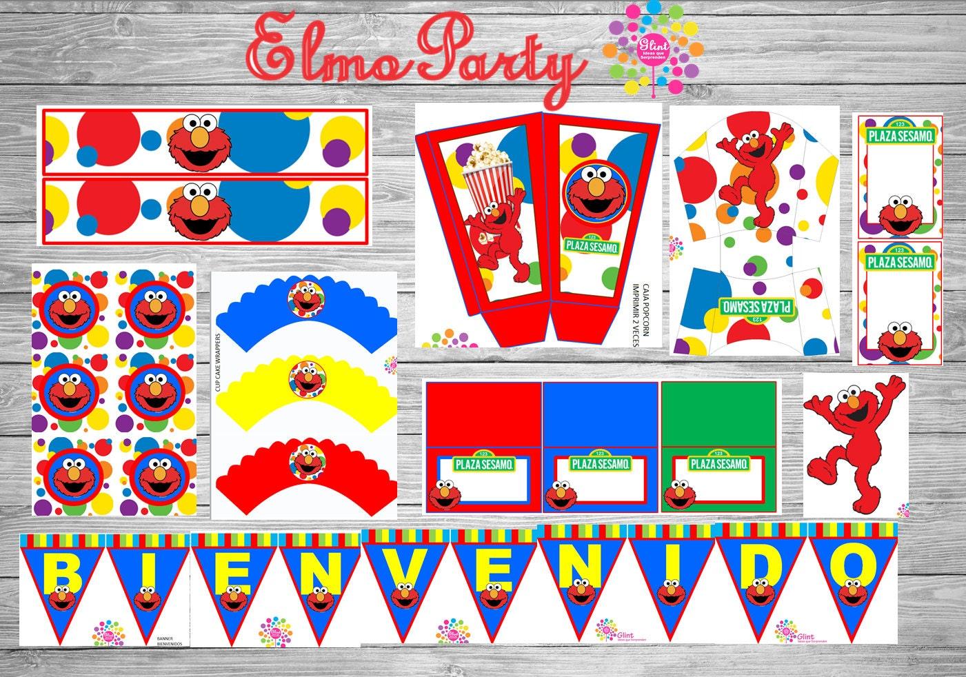 Kit paquete imprimible para fiesta motivo ELMO Plaza Sesamo | Etsy