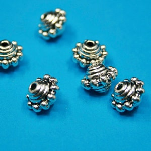 Round Pewter Beads Bali Style Beads  8 beads 11 mm