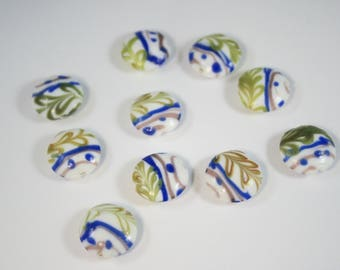 Glass Lampwork Beads  (10 Beads)   17 mm