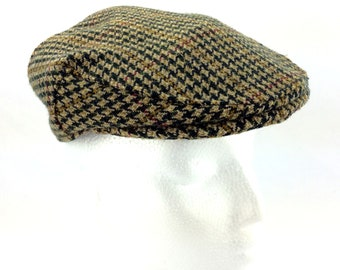 a0a6b949 Newsboy Flat Cab Brown Tweed Hat Cabbie Driving Ivy Gatsby B. Luft England  6 1/2