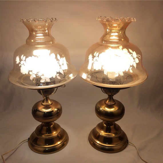 Vintage Table Lamps Set Brass Electric Hurricane Iridescent Etsy