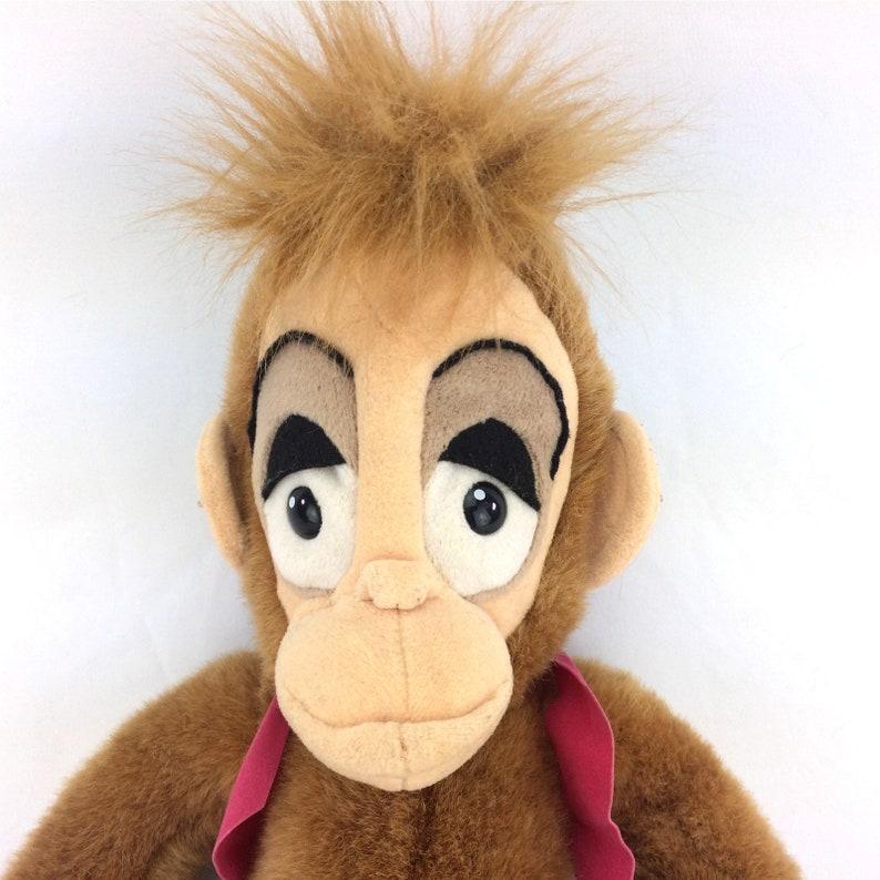 Abu Plush Aladdin Monkey Stuffed Animal With Vest Hat Velcro Vintage 1992 Disney