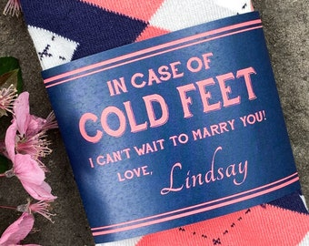 In Case of Cold Feet Socks for Coral and Navy Wedding ©