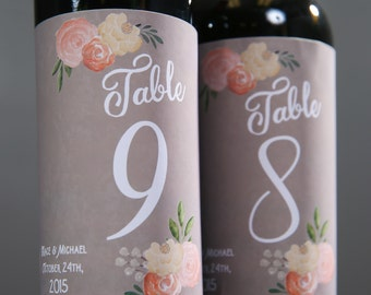 Table Numbers for Wedding Wine Labels