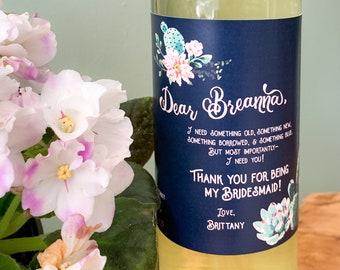 Custom Cactus Bridesmaid Gift Wine Thank You Label ©