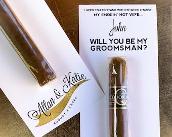 Custom Groomsmen Cigar Labels for Asking Groomsmen ©