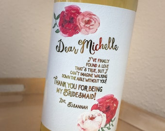 Bridesmaid Gift Wine Thank You Label with Real Gold Foil ©