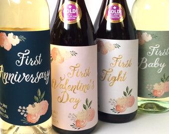 5 Marriage Milestone Wine Labels / Wedding Wine Firsts / Marriage Firsts Wedding Labels / Married Firsts Milestones / Wedding Milestone Gift