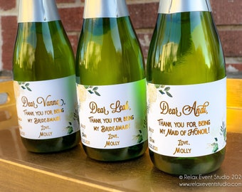 Custom Bridesmaid Gift Wine Label with Real Gold Foil ©