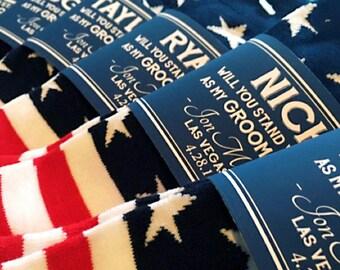 THE ORIGINAL Groomsman Socks for Groomsmen Proposal & America Socks ©