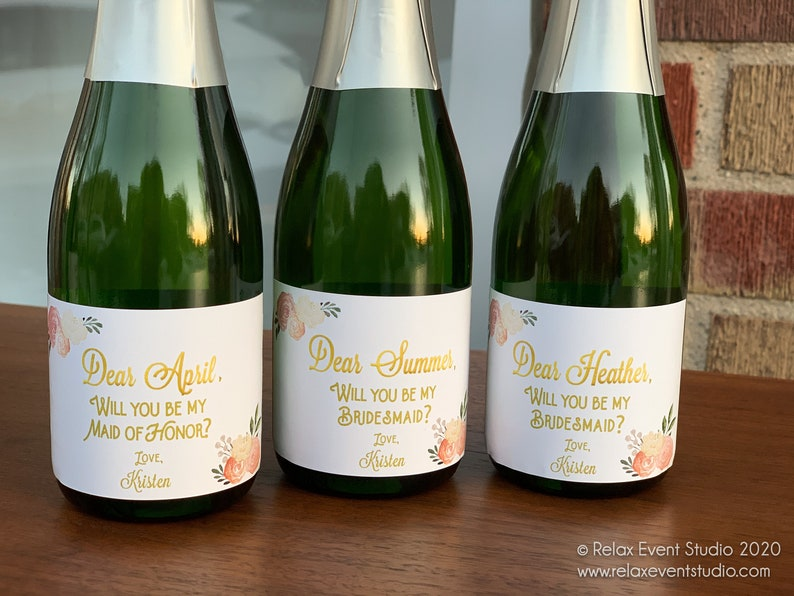 Mini Champagne Label for Bridal Party Proposal Gift Box  © image 0
