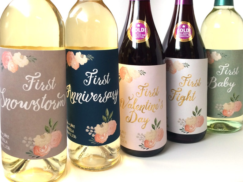 5 Marriage Milestone Wine Labels / Wedding Wine Firsts / image 0