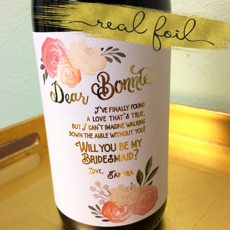 Real Gold Foil Blush Wedding Bridal Party Proposal Wine / Wine image 0