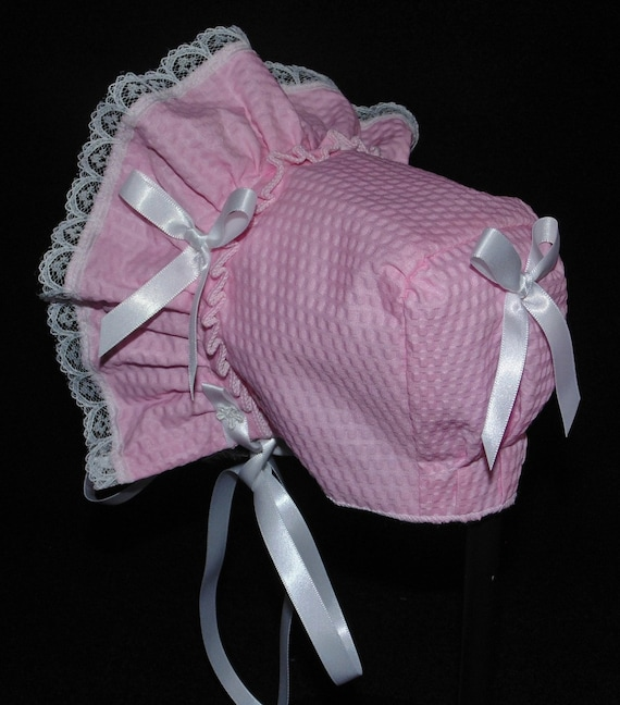 Handmade Pink Searsucker with White Trim Baby Bonnet
