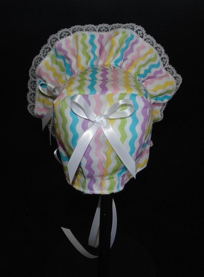 New Handmade Pastel Lines Easter Print Baby Bonnet