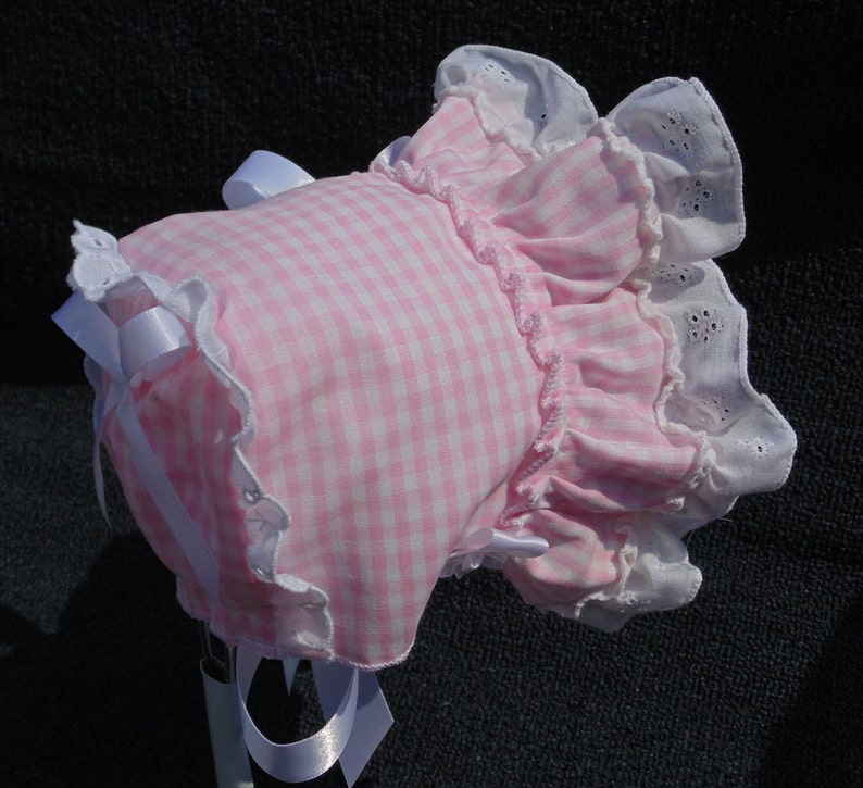New Handmade Pink Gingham with White Cotton Eyelet Lace Baby Sun Bonnet