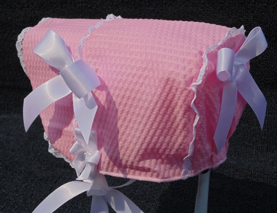 New Handmade Pink Searsucker with Extended Front Baby Sun Bonnet
