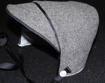 New Handmade Baby Boy Gray Herringbone with Silk Lining