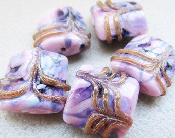 Purple pink glass lampwork beads set, handmade glass lampwork beads, pillow glass lampwork beads sra, artisan lampwork beads set of 5 pcs
