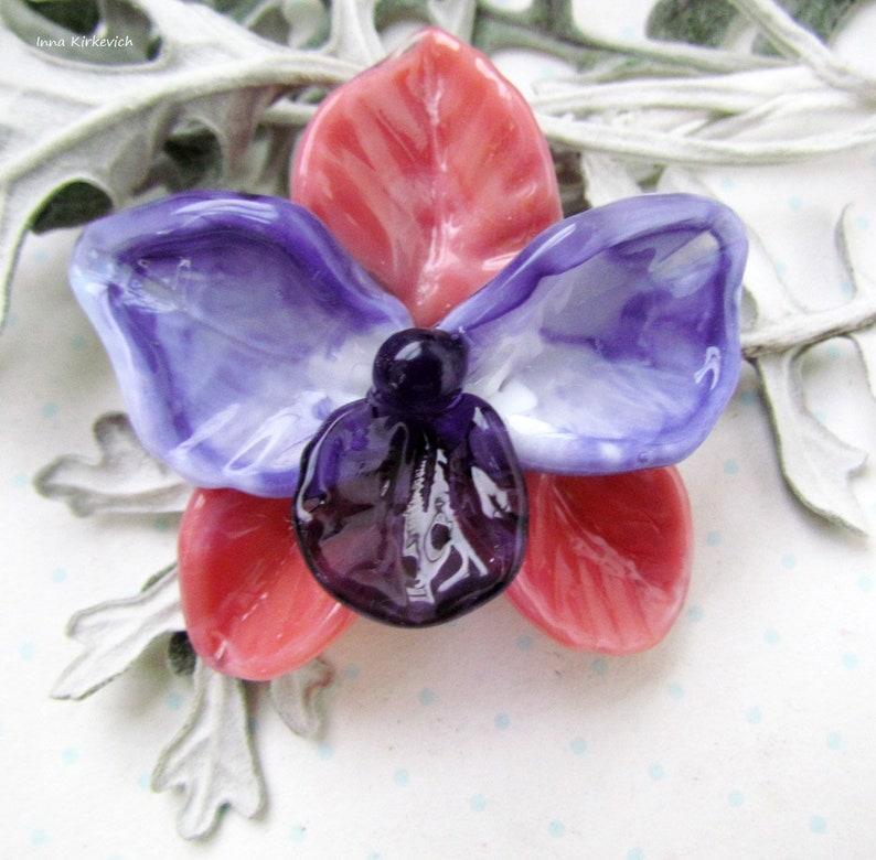 handmade glass lampwork beads lampwork pink with purple phalaenopsis flower bead Orchid lampwork beads artisan floral lampwork beads