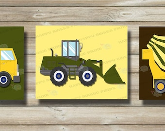 Construction art set of 3 prints-canvas, nursery wall hanging art,olive-yellow-brown cement truck,crib bedding construction,toddlers art,129