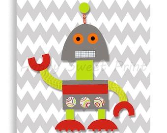 CLEARANCE Robot print,robot nursery print, robot art, retro gray and red robot,children's room,cute boy's room decor, robot kids bedding 031