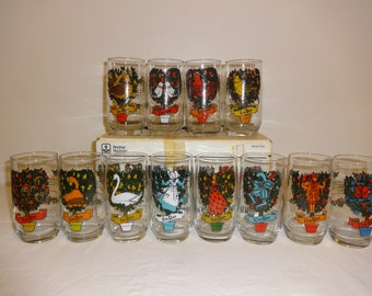 libbey 12 days of christmas glasses with original box