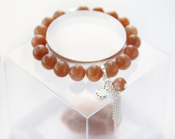 Natural Sunstone beads bracelet with sterling silver details