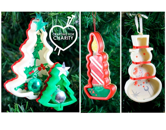 image 0 - Set Of 3 Cookie Club Christmas Ornaments Handmade Upcycled Etsy