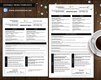 restaurant menu template etsy