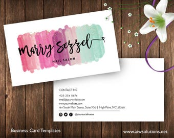 Business card template etsy watercolor business cardswatercolor splash business cardswatercolored business cards templates painter name cardart collectors name card reheart Images