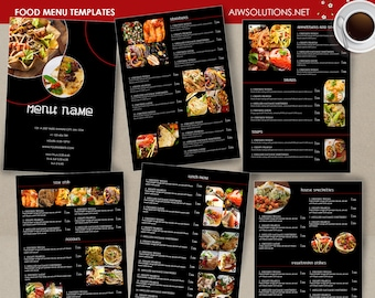 food menu template drink menu minimal restaurant menu etsy