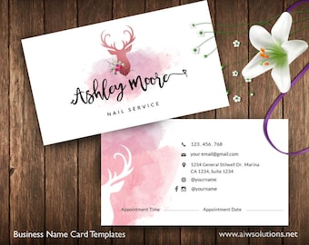 Free coffee card template free salon loyalty business card business cards printable spa service card appointment card pinky card deer water color card nail service card beauty name card id33 reheart Image collections