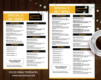 food menu templates printable restaurant menu template etsy