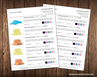 Wholesale Line Sheet Template With Colour Options Color Minimalist Simple Product