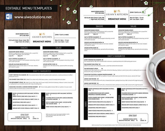 restaurant menus takeout menus table tents bar menus etsy