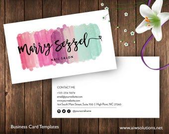 Watercolor Business Cards,Watercolor Splash Business Cards,Watercolored Business Cards templates, painter name card,art collectors name card