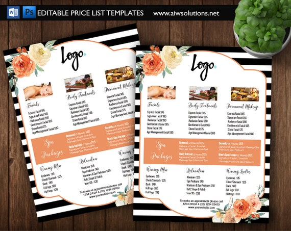 spa price list cosmetic price guide service price guide etsy