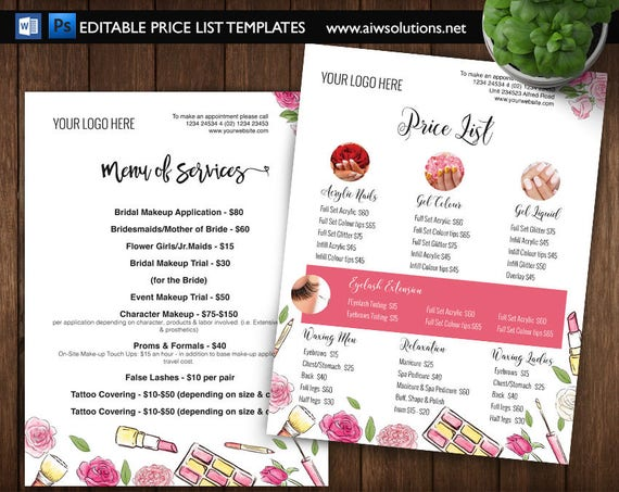 edit able service price list pricing list template specials etsy