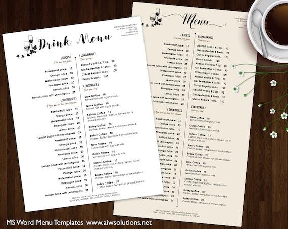 Food Menu Template   Drink Menu Templates Printable Restaurant Menu Template Etsy